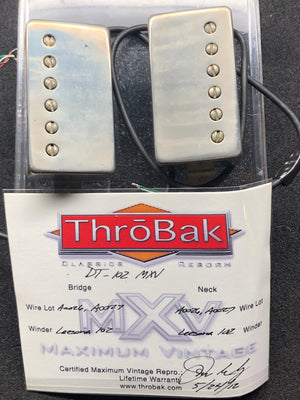 ThroBak DT-102 MXV PAF set with 4 Conductors and aged Nickel covers and Jimmy Page style wiring harness!