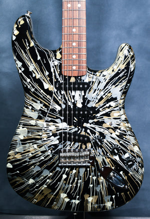 2002 Fender FSR Stratocaster Splattercaster Olympic White, Aztec Gold, and Inca Silver Swirl over Black