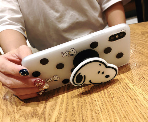 Round dot Snoopys phone case for iPhone plus holder bracket cover