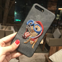 3D Cute Dog Denim coque Cover Case for iPhone