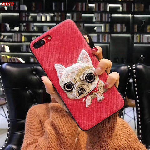 Embroidery 3D Cute dog Denim coque cover Case for Apple