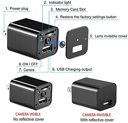 WiFi Hidden Spy Camera Motion Detection HD USB Charger Camera