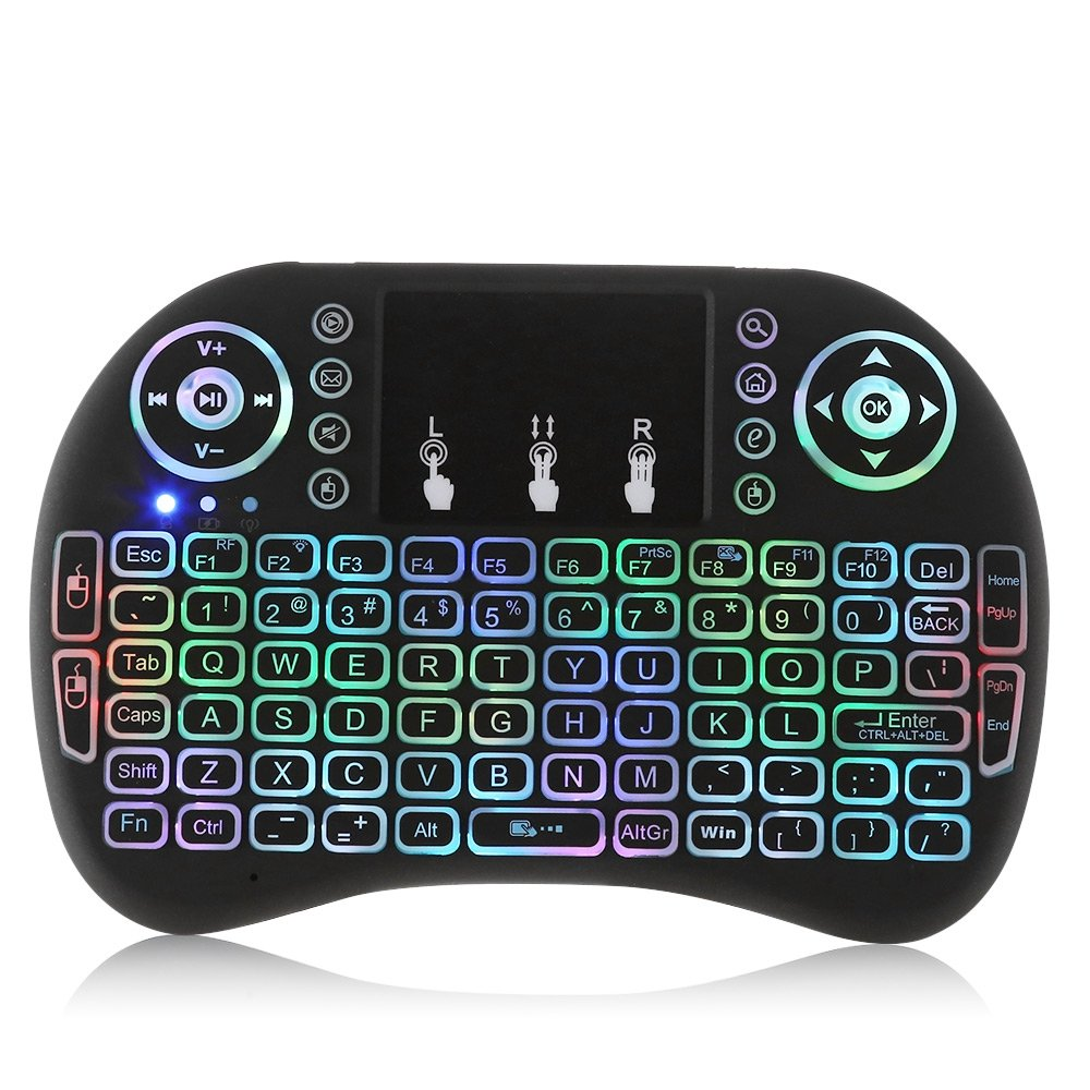 i8 Mini Wireless Keyboard Seven Color Backlight 2.4GHz with Touchpad