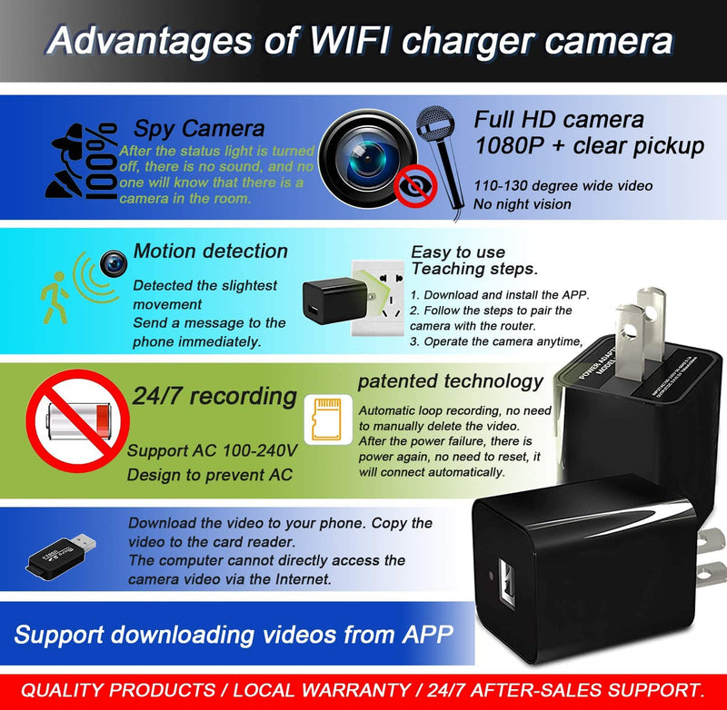 Spy hidden camera wireless wifi charger HD