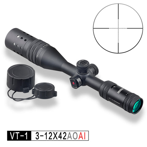 Discovery Optics VT-1 3-12x44 AOAI Mil Dot Reticle Rifle Scope, includes Angle Indicator and Sunshade
