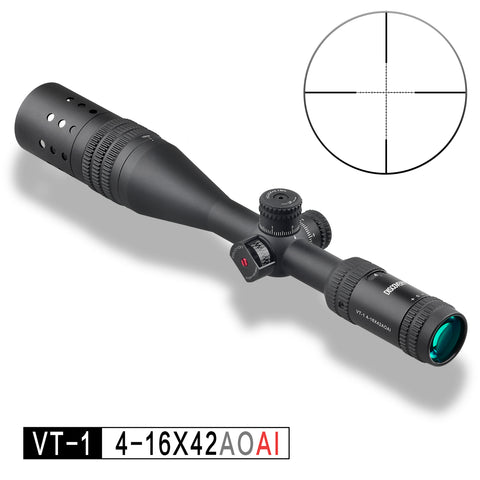 Discovery Optics VT-1 4-16x44 AOAI Mil Dot Reticle Rifle Scope, includes Angle Indicator and Sunshade