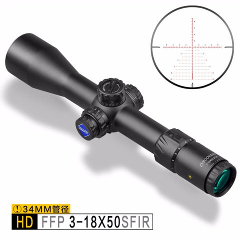 Discovery Optics HD 3-18X50 SFIR SLT FFP IR-MIL 34mm Tube First Focal Plane Rifle Scope