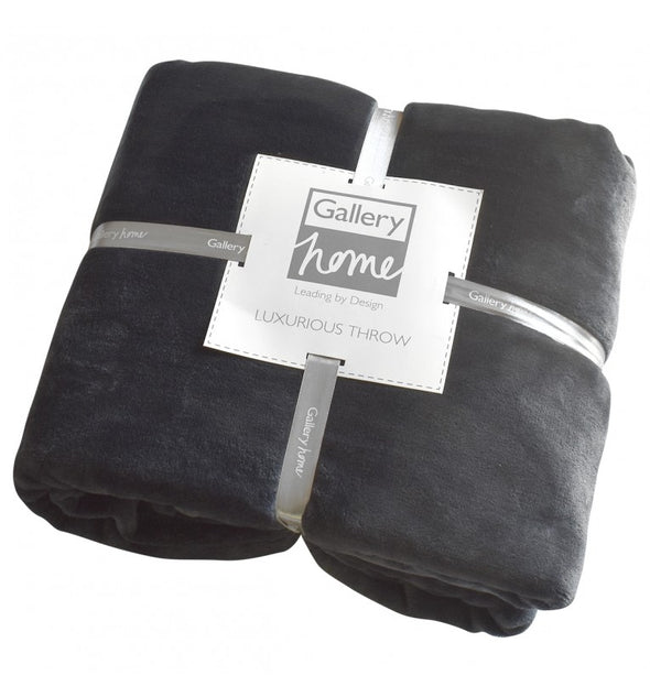 Flannel Fleece Throw Charcoal 1400x1800mm