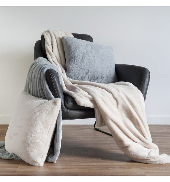 Faux Rabbit Throw Grey