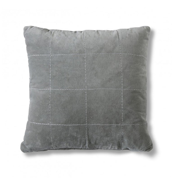 Kirkby Stabstitch Velvet Cushion Grey 450x450mm