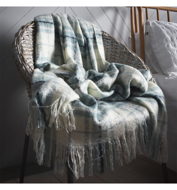 Check Mohair Throw Duckegg 1300x1800mm