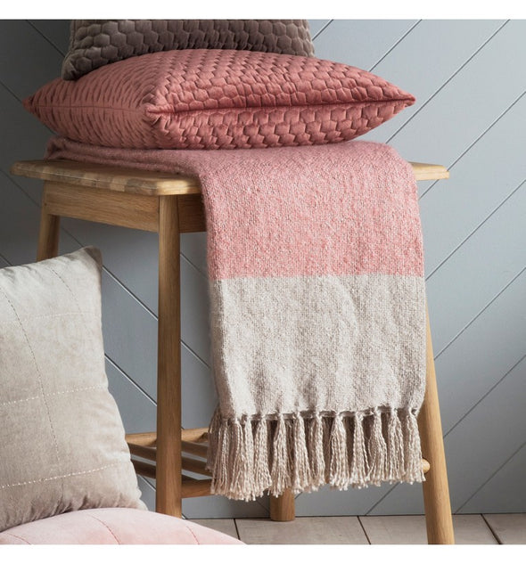 Tonal Mohair Throw Blush & Silver 1300x1800mm