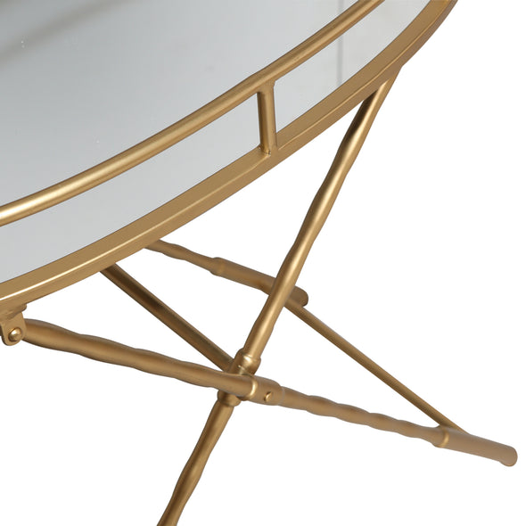 Gold & Glass Oval Folding Table