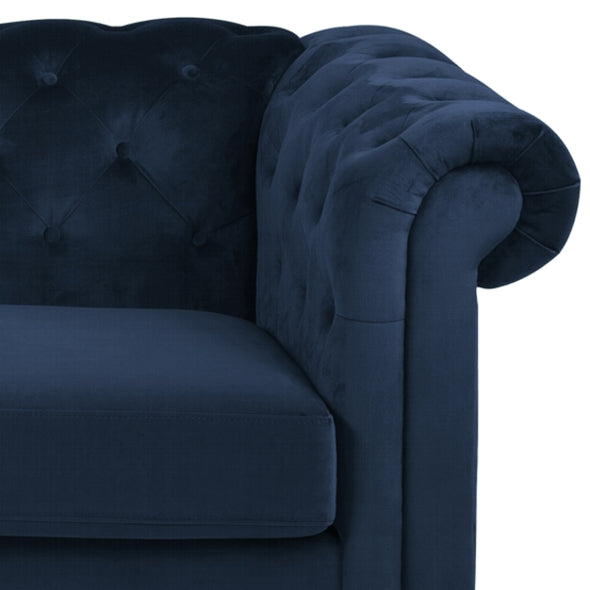 Charles 3 Seater Sofa Navy Velvet With Black Legs