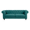 Charles 3 Seater Sofa Green Velvet With Black Legs