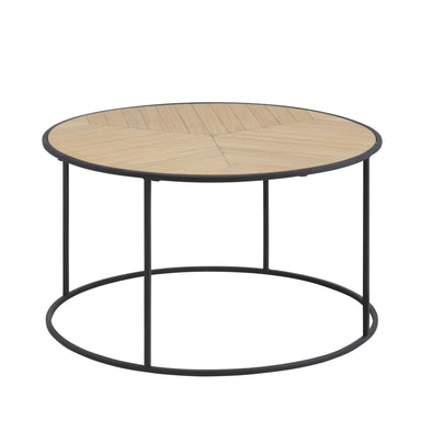 Round Timber Coffee Table With Iron Base