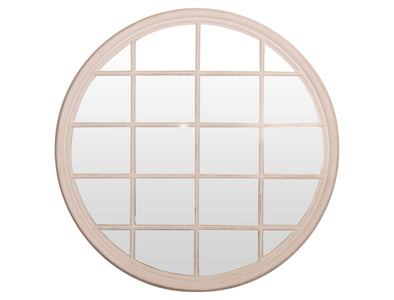 Round White Mirror With 20 Panes