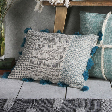 Advika Block Printed Cushion Teal