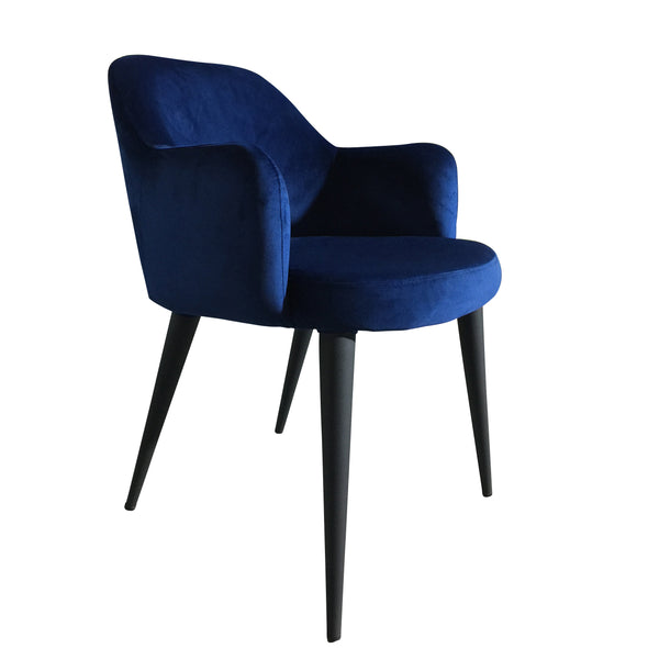 Terrazo Dining Chair Navy Velvet