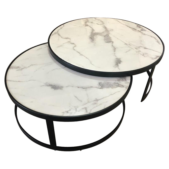 Glory Coffee Table Set White Marble