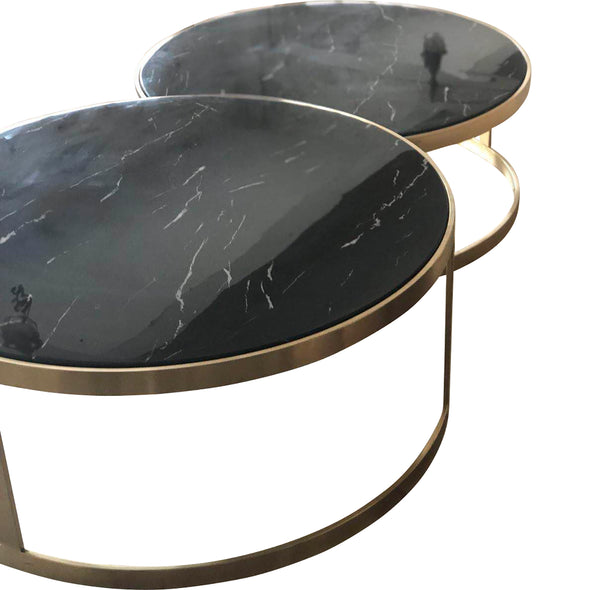 Splendour Coffee Table Set Black Marble