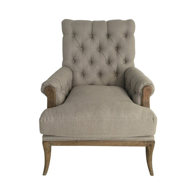 Linen Armchair Beige With Oak Legs