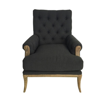 Linen Armchair Charcoal With Oak Legs