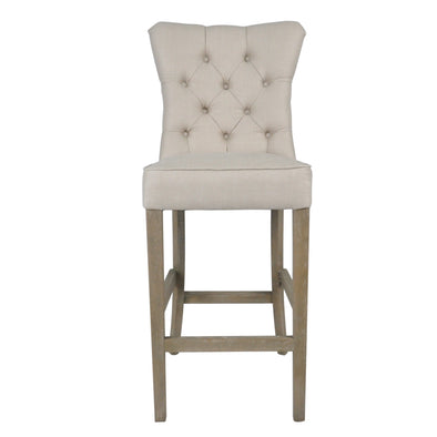 Linen Bar Stool Beige With Buttons