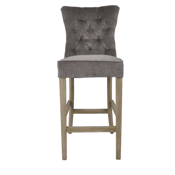 Bar Stool Silver Grey With Buttons
