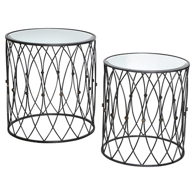 Iron Mirrored Side Tables Black Set Of 2