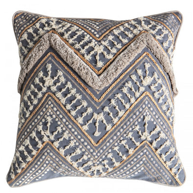 Mancora Embroidered Cushion Slate Grey