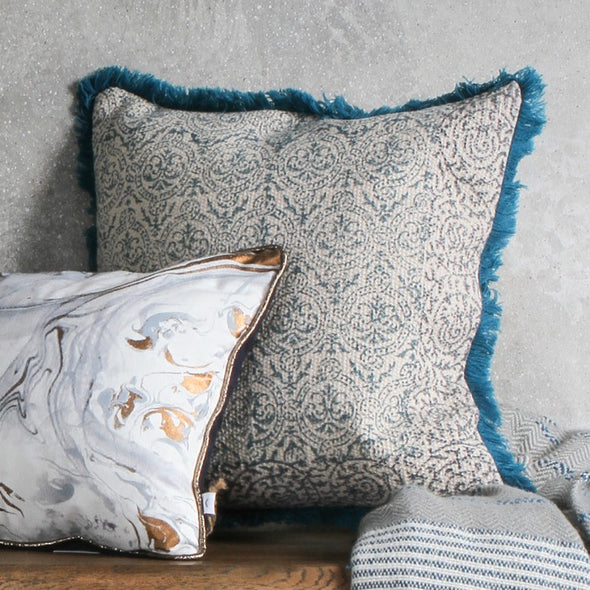 Nakur Block Printed Cushion Teal