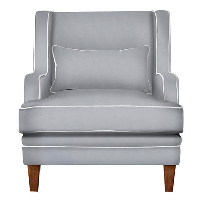 Noosa Armchair Grey and White Piping