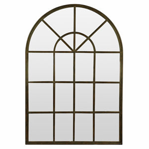 Antique Iron Arch Black Frame With Mirror Panes