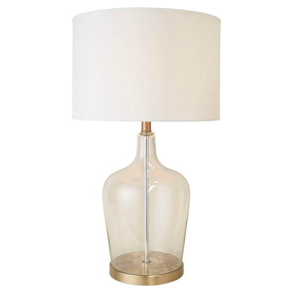 Palm Beach Glass & Brass Lamp With White Shade
