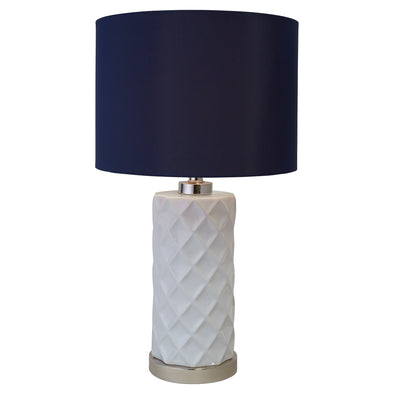 Hampton White Ceramic Lamp With Navy Blue Shade