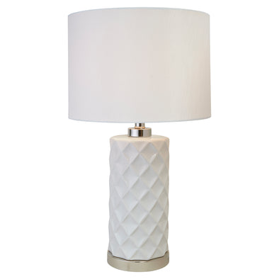 Hampton White Ceramic Lamp With White Shade
