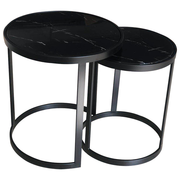 Glory Side Table Set Black Marble