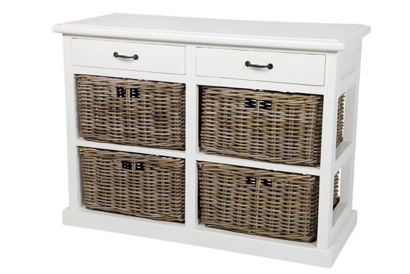 Hampton White Storage 4 Basket 2 Wooden Drawers Kubu White