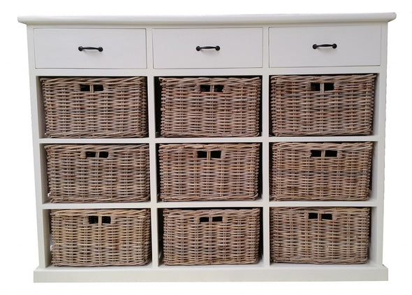 Hampton White Storage 9 Basket 3 Wooden Drawers Kubu White