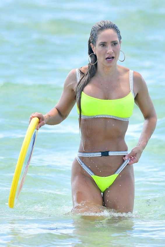 Jennifer Nicole Lee in Neon Yellow Bikini on the beach in Miami Beach