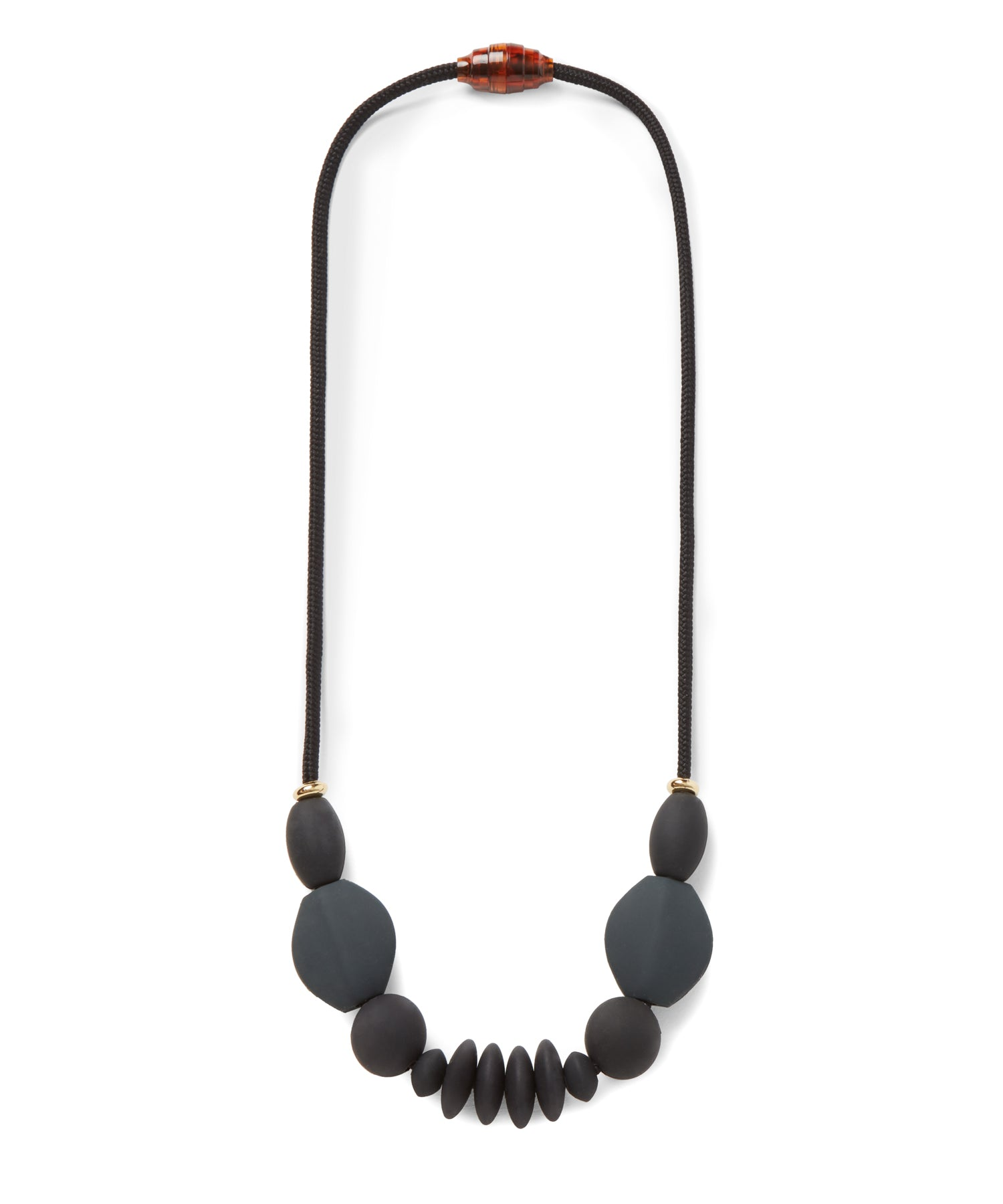 signature teething necklace | charcoal