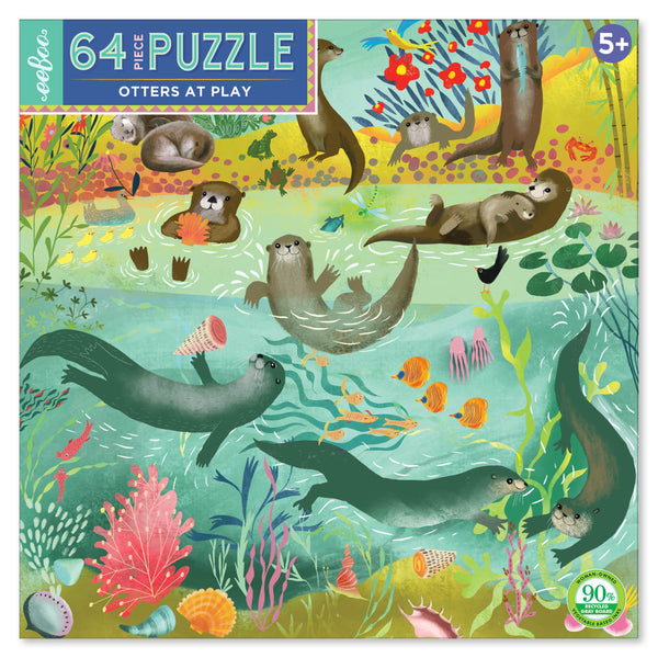 64 piece puzzle | otters at play