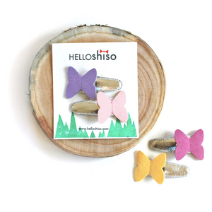 hair clips | butterfly - pink + lavender