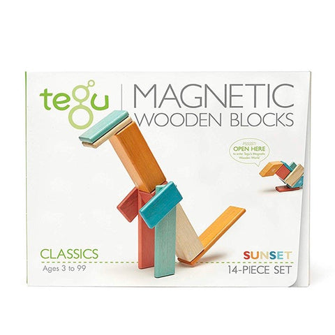 14 piece magnetic wooden block set | sunset