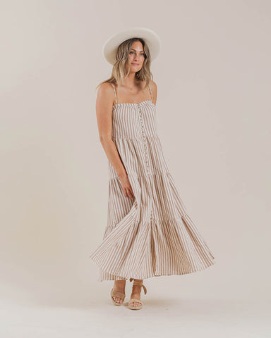 women's tiered maxi dress | striped