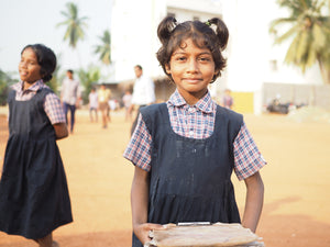 This little girl was rescued from human trafficking, and now she goes to school. You can buy her and other children school supply kits that give them a new chance at life.