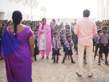 Load image into Gallery viewer, A group of Indian children in uniform with their teachers. The teachers are ready to devote their lives to teach and educate victims of trafficking