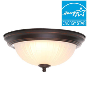 Commercial Electric LED 15-100watt Flushmount Ceiling Light Oil Rubbed Bronze (2-pack)-OB