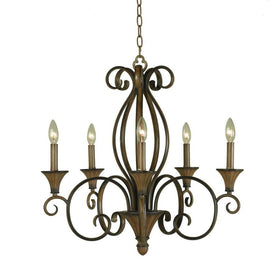 Hampton Bay Chester 5-Light Chandelier Fixture Aruba Teak-OB